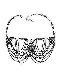 Drape Medallion Choker Necklace