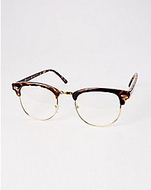 Brown Half Frame Fake Glasses