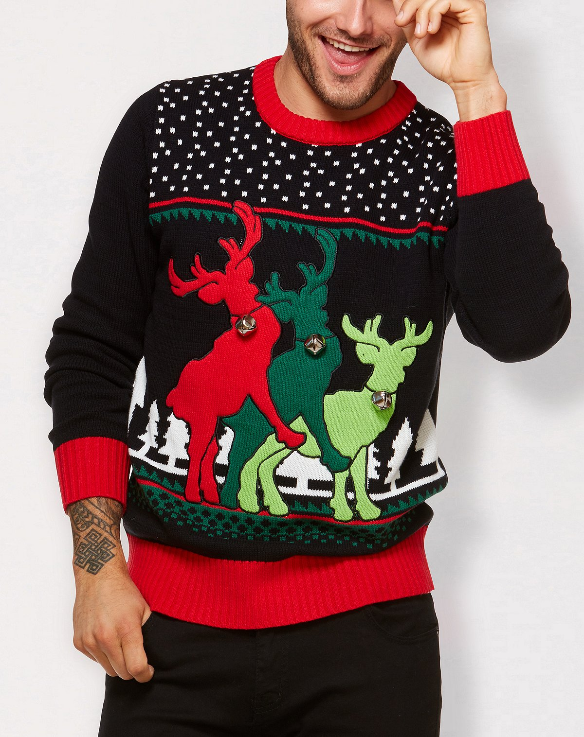 Spencer's Threesome Reindeer Ugly Christmas Sweater