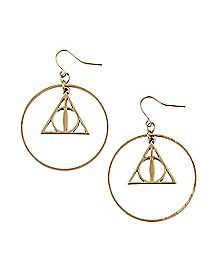 Harry Potter Deathly Hallows Dangle Earrings