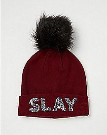 Pom Sequin Slay Beanie Hat