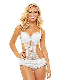 Ruffle Lace Teddy - White