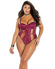 Strappy Lace Plus Size Bodysuit