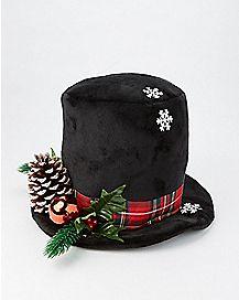Black Snowy Top Hat