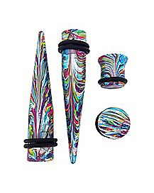 Multi-Pack Rainbow Swirl Tapers and Plugs - 2 Pair