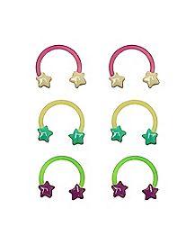 Multi-Pack Star Glow In The Dark Horseshoe Rings 3 Pair - 16 Gauge