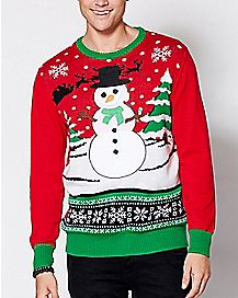 Velcro Patches Snowman Ugly Christmas Sweater