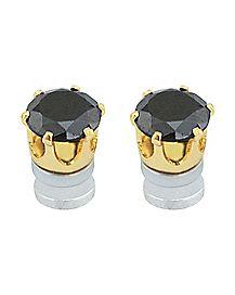 Black CZ Fake Stud Earrings