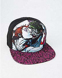 fe3b32f326cab Kiss Harley Quinn and The Joker Snapback Hat - DC Comics - Spencer s