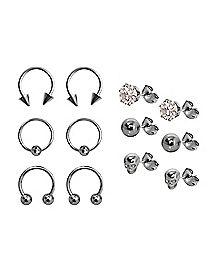 Multi-Pack Captive Horseshoe and Stud Earrings 6 Pair - 18 Gauge
