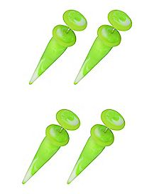 Green And White Marble Glow In The Dark Fake Tapers