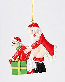 Santa Claus and Mrs. Claus Ho Ho Ho Christmas Ornament