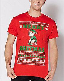 Elf Merry Shitmas Ugly Christmas T Shirt