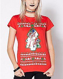 sequin get lit ugly christmas t shirt - Christmas Shirts For Girls