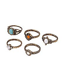 Multi-Pack Gem Rings - 5 Pack