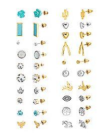 Multi-Pack Goldplated Stud Earrings - 20 Pair