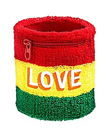 Zipper Love Rasta Wristband