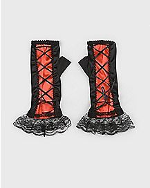 Long Red and Black Lace Gloves