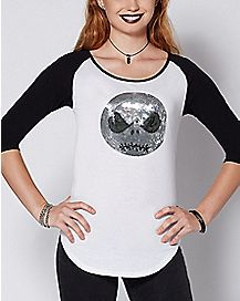 Sequin Jack Skellington Raglan T Shirt - The Nightmare Before Christmas