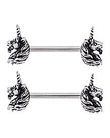Unicorn Nipple Barbells - 14 Gauge