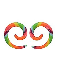 Striped Rainbow Spiral Ear Tapers