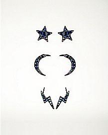 Star Moon Stud Earrings - 3 Pair