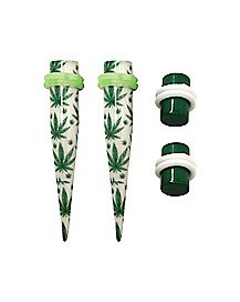 White and Green Weed Leaf Tapers and Plugs - 2 Pair