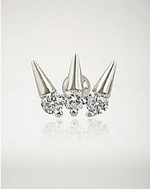 CZ Triple Spike Cartilage Stud Earring - 16 Gauge