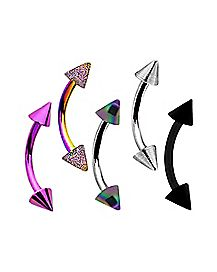 Spiked Multi-Color Eyebrow Ring 5 Pack - 16 Gauge