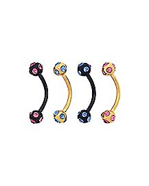 Black and Goldplated CZ Curved Curved Barbells 4 Pack - 16 Gauge
