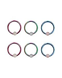 Rainbow Captive Ring 6 Pack - 16 Gauge
