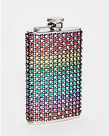 Rainbow Rhinestone Flask - 5 oz.