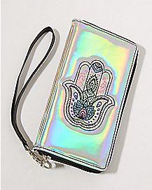 Iridescent Hamsa Hand Zip Wallet