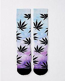 Ombre Weed Leaf Knee High Socks