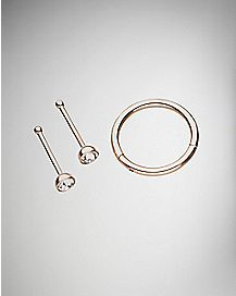 Rose Goldplated Hinged Hoop Nose Ring and Nose Studs 3 Pack - 18 Gauge