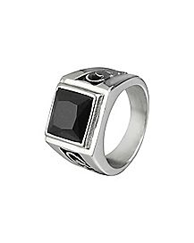 Square CZ Engraved Ring