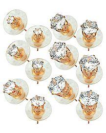 Rose Goldplated Circle CZ Stud Earrings 6 Pair - 20 Gauge