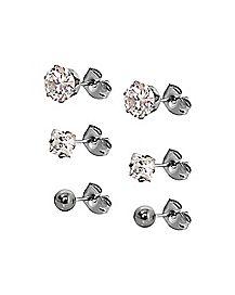 CZ Stud Earrings - 3 Pair
