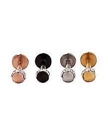 Metal Tone Labret Lip Ring 4 Pack - 16 Gauge