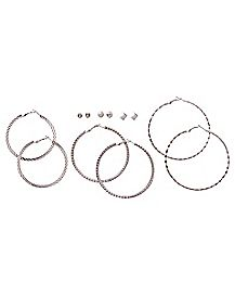 Silvertone Hoop and Stud Earrings - 6 Pair