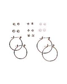 Pearl-Effect CZ Stud and Hoop Earrings - 9 Pair
