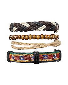 Rope and Beaded Bracelet - 4 Pack