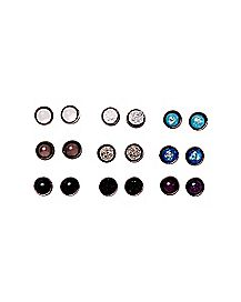 Gray and Blue Stud Earrings - 9 Pair