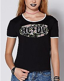 Floral ACDC T Shirt