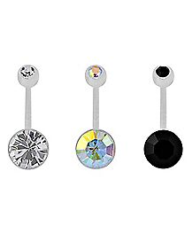 Black and Clear CZ Belly Ring 3 Pack - 14 Gauge