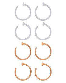 Clear and Beige Nose Hoop Retainer 8 Pack - 20 Gauge