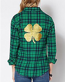 Glitter Not Irish Just Drunk St. Patrick's Day Plaid Shirt