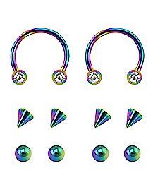 Rainbow Horseshoe Rings with Extra Balls - 16 Gauge
