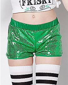 Green Sequin St. Patrick's Day Shorts