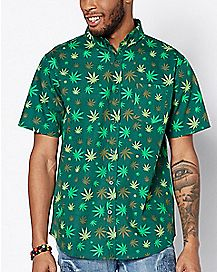 Weed Leaf Button Down Shirt